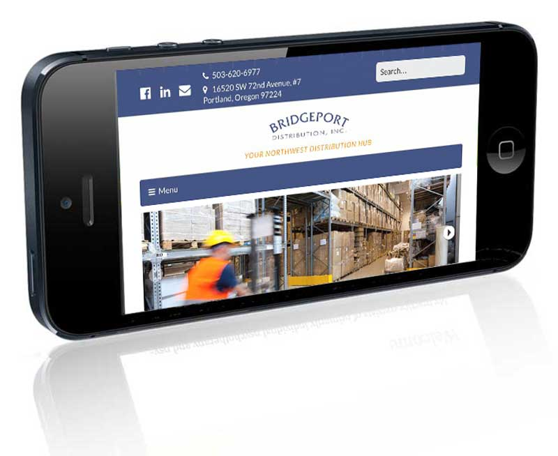 Bridgeport Distribution home page on iPhone